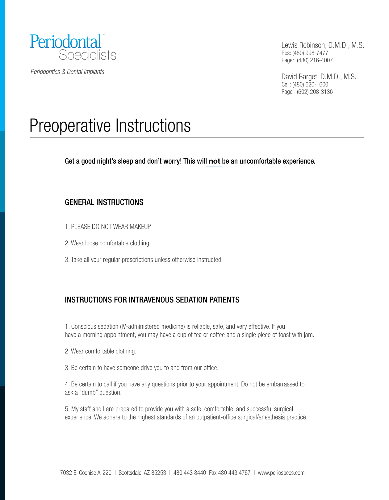 Preop Instructions